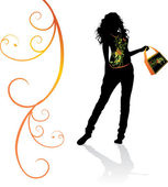 Chica en camiseta adornada con bolsa recargado — Vector de stock
