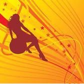 Sarı zemin üzerine beyaz bir kızla — Stok Vektör