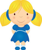 Cartoon girl in blue dress — Stock Vector