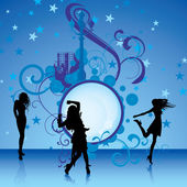 Dancing girls on blue background — Stock Vector