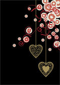 Black backdrop with golden ornate hearts and red-white decor circles — Vector de stock