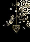 μαύρο φόντο με χρυσό και στολισμένος καρδιές και λευκό décor κύκλους — Διανυσματικό Αρχείο