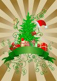 Christmas scroll vintage illustration — Stock Vector