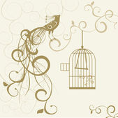 Bird out of the golden cage floral background — Vector de stock