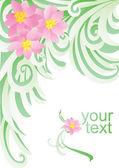 Vector flower green banner on white backdrop — Stock Vector