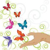 Fjärilar kurvor — Stockvektor