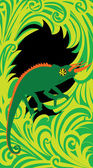 Green chameleon frame — Stock Vector