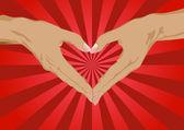 Silueta de las manos en forma de corazón — Vector de stock