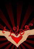 Hartvormige silhouet van de handen — Stockvector