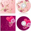 Vector pink flowers discs covers set - Stok Vektr