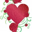 Red roses ornate heart - Stock Vector