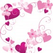 Pink and purple hearts frame with floral decor — 图库矢量图片