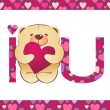 Teddy bear with heart and i love you text on white background wi — Stock vektor