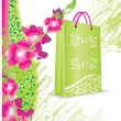 Flower shopping bag — Stock Vector