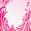 Pink frame with flowers and curves — Imagen vectorial