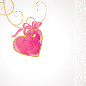 Pink rose heart ribbon — Stock Vector