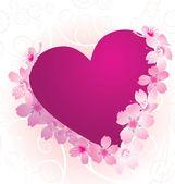 Flores de violeta e rosa coração com florescendo cereja árvore isoladas — Vetorial Stock