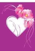 Cuore con fiori ornati — Vettoriale Stock