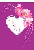 Hart met bloemen versierde — Stockvector