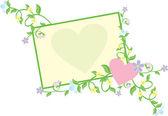 Hart met bloemen pastel — Stockvector