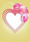 華やかな花を持つ心 — ストックベクタ