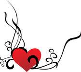 Ilustracja wektorowa rogu czerwone serce — Wektor stockowy