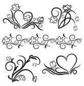 Elementos florais preto e brancos — Vetorial Stock