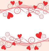 červené srdce grafický rámeček — Stock vektor
