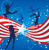 USA independence day dancing women — Stock Vector