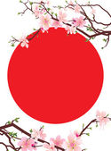 Japan sakura tree blossoming brunches and japan symbol red sun — Stock Vector