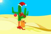 Christmas cactus blue sky and yellow sand — Stock Vector