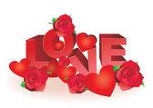 Rosas y corazones rojos vector de cartas de amor — Vector de stock