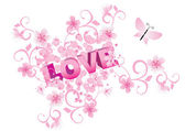 Pink flowers love abstract vector — Cтоковый вектор
