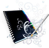 Business note book with pen — Stock Vector