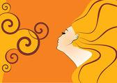 Orange outlines profile girl vector — Stock Vector