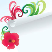 Hibiscus and paper — Stock Vector