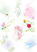 Zestaw z kwiatów, motyli i biedronka — Wektor stockowy