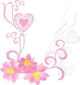 Corazón de color rosa con flores — Vector de stock