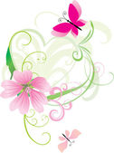Zelené srdce s květinami a křivek — Stock vektor