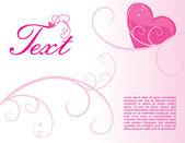 Růžové srdce a křivek — Stock vektor