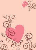 Coeur rose avec des fioritures bruns — Vecteur