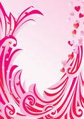 Růžový rám s květinami a křivek — Stock vektor