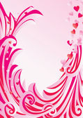 Pink frame with flowers and curves — Stockvektor