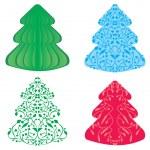 Christmas tree cartoon night — Stock Vector