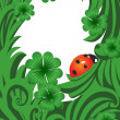 Green vector blank with ladybug — Stock Vector