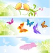 Summertime with butterflies background — Stock Vector