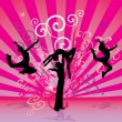 Three urban modern dancing women silhouettes on the red or pink grunge background — Stock Vector