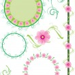 Flowers border and frame vector set - Stock Vector