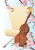 Vektorové housle v jarní zahradě — Stock vektor