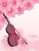 矢量小提琴在春天的花园 — 图库矢量图片